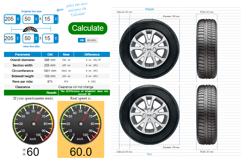 Overall Diameter Tire Chart >> Tire size calculator: compare tires online